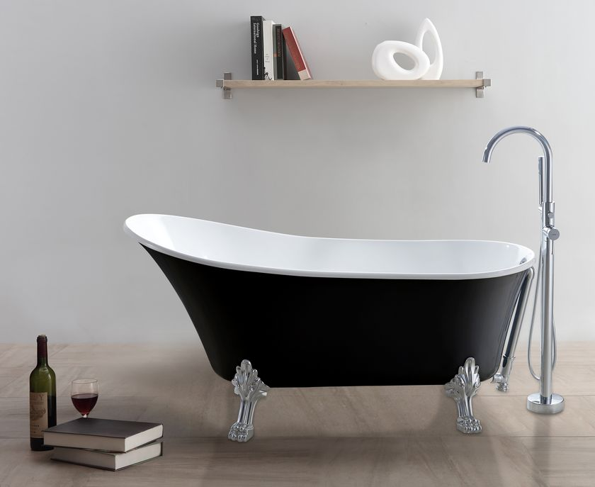 Freistehende badewanne classico sw schwarz wei for Freistehende badewanne bilder