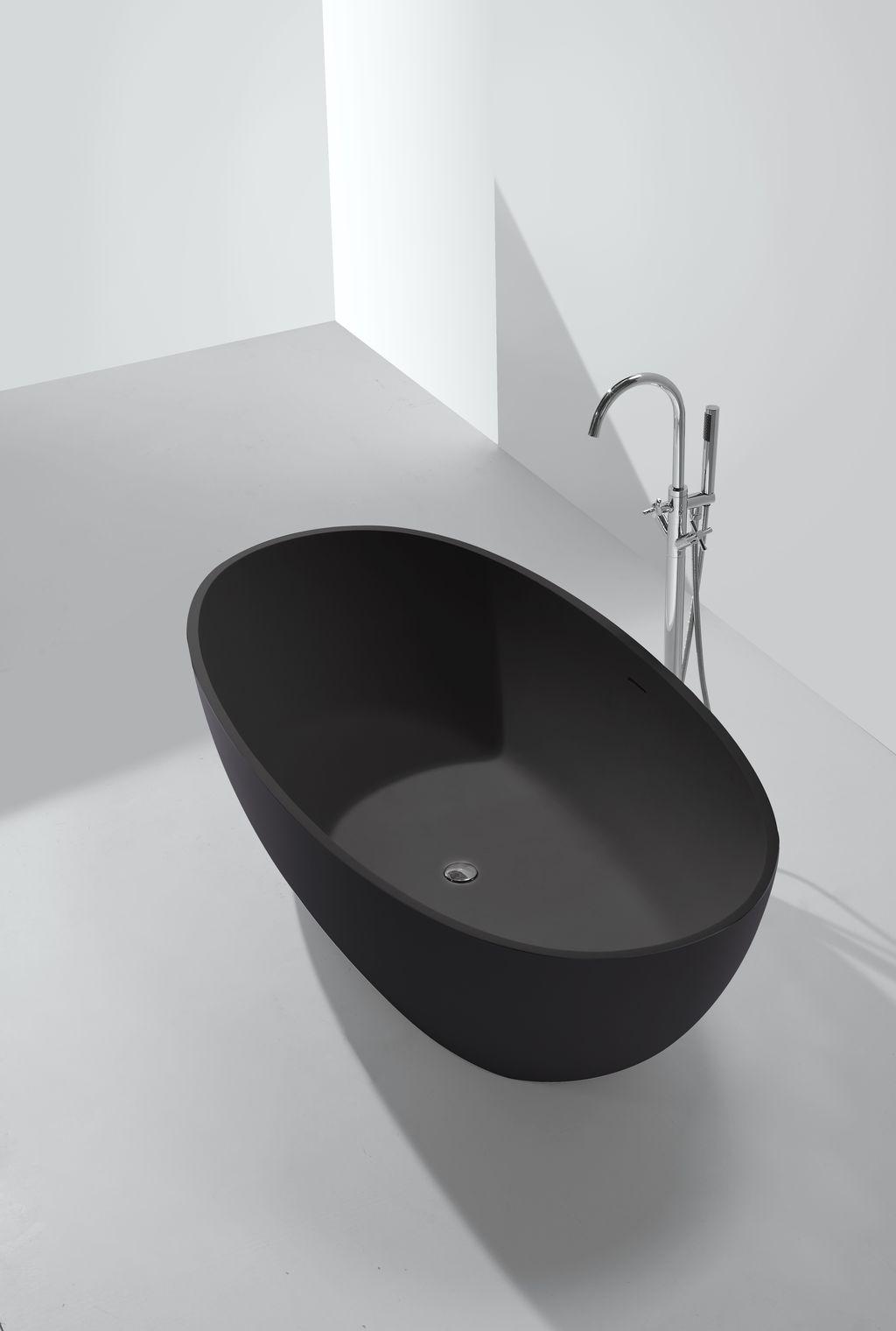 Mineralguss badewanne ductilo schwarz freistehend for Badewanne freistehend mineralguss