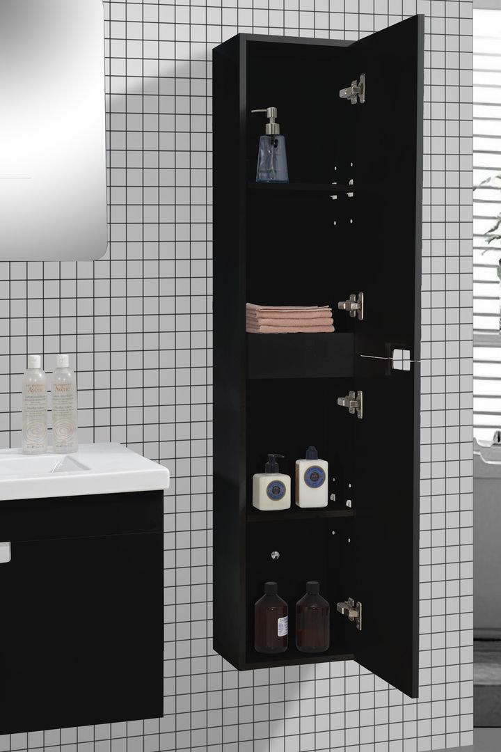 Badmöbel-Set GLOSSO 75 (hochglanz-schwarz) - Duschdeals