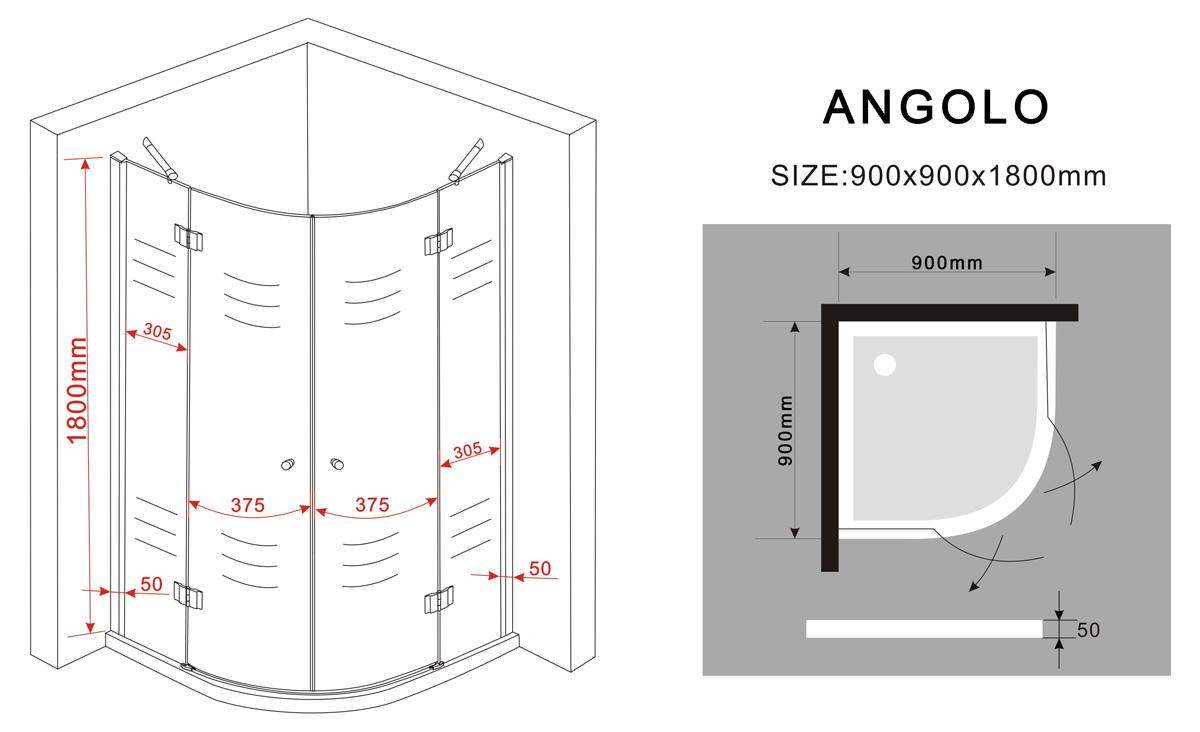 duschkabine angolo 90 x 90 x 185 cm viertelkreis inkl. Black Bedroom Furniture Sets. Home Design Ideas