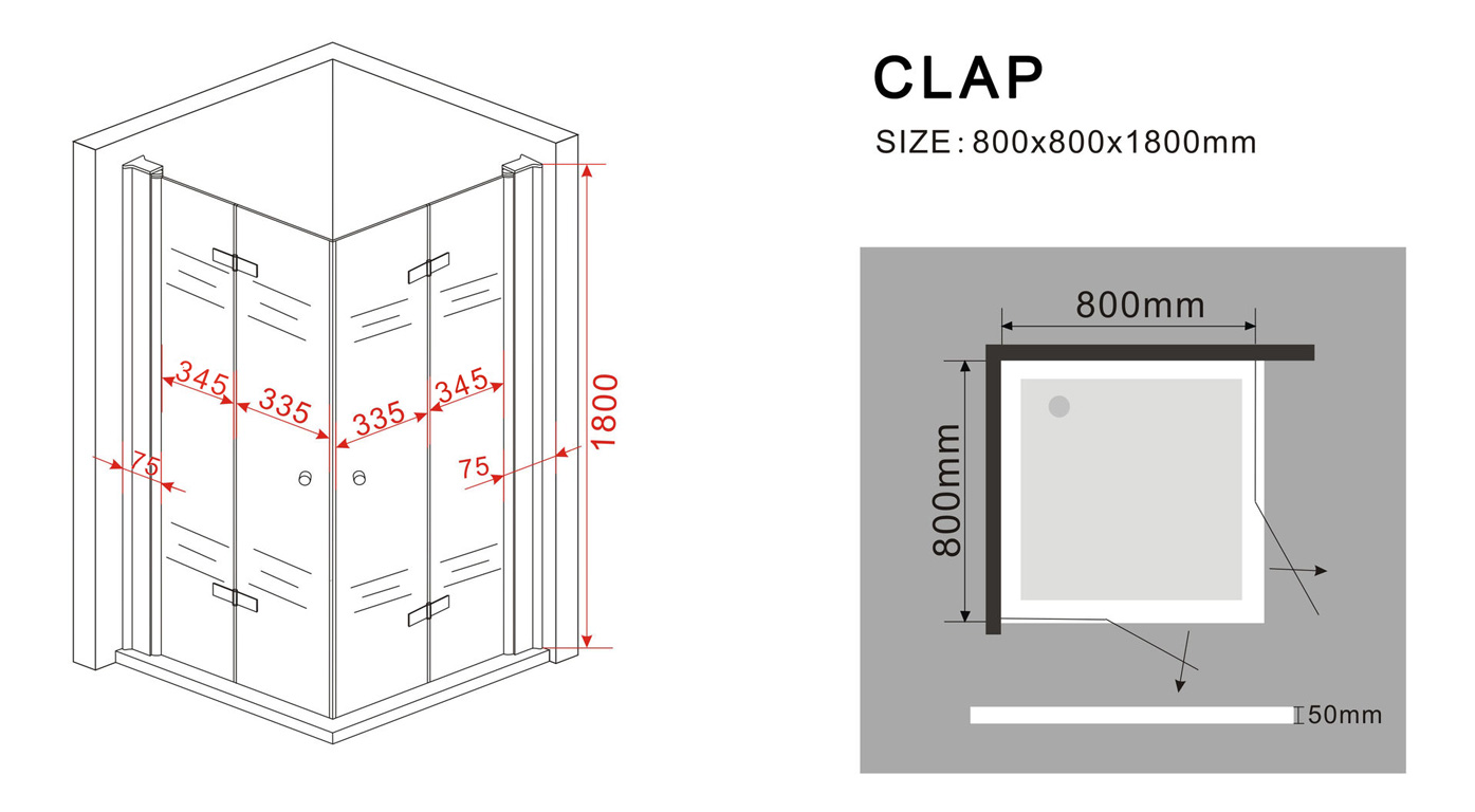 duschkabine clap 80 x 80 x 185 cm inkl duschtasse. Black Bedroom Furniture Sets. Home Design Ideas