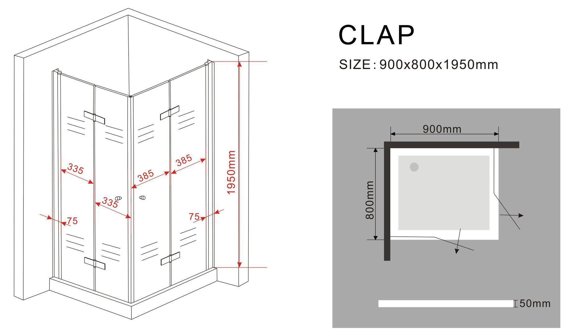 duschkabine clap 80 x 90 x 200 cm inkl duschtasse glasdeals. Black Bedroom Furniture Sets. Home Design Ideas