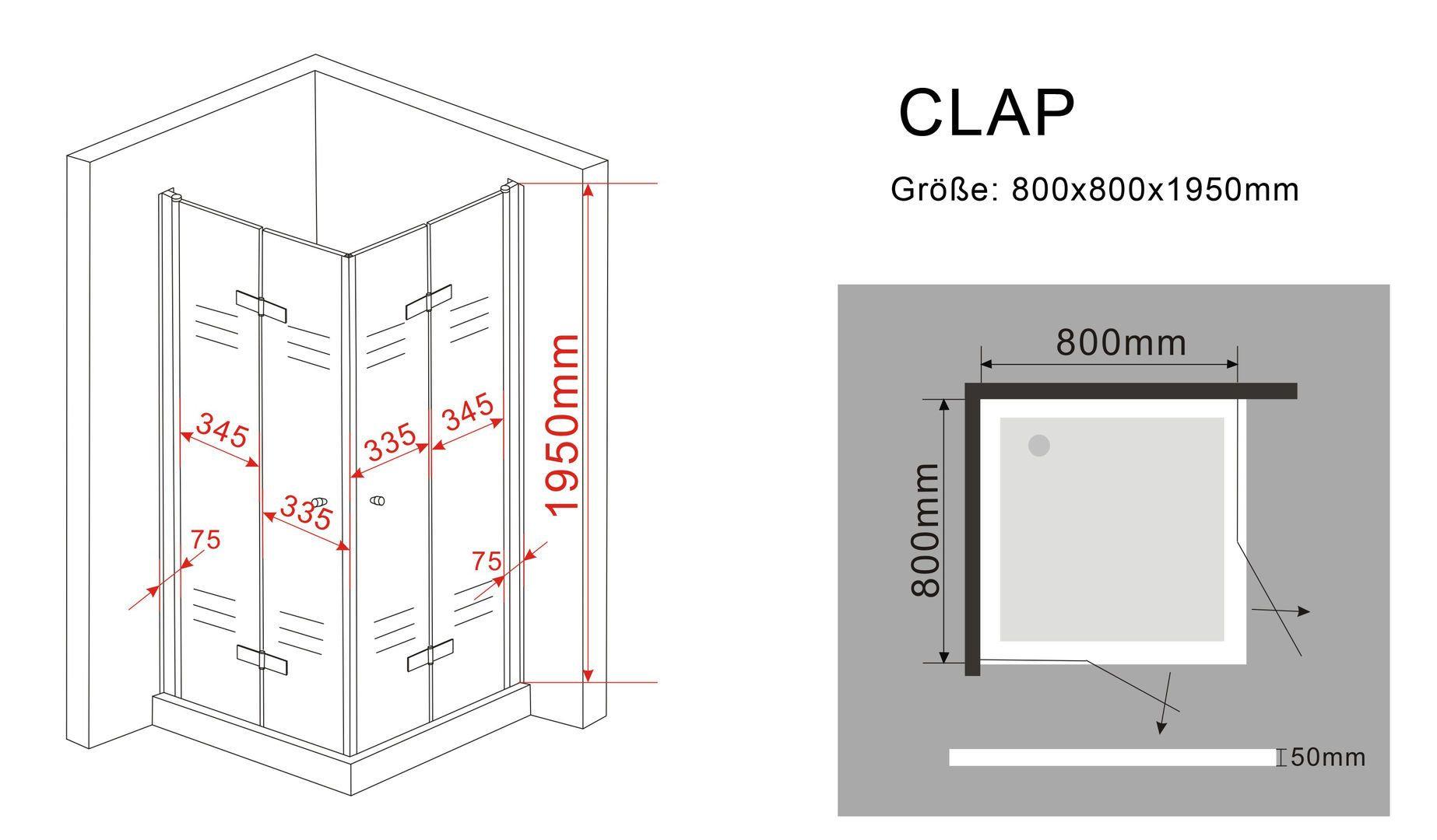 duschkabine clap 80 x 80 x 200 cm inkl duschtasse glasdeals. Black Bedroom Furniture Sets. Home Design Ideas