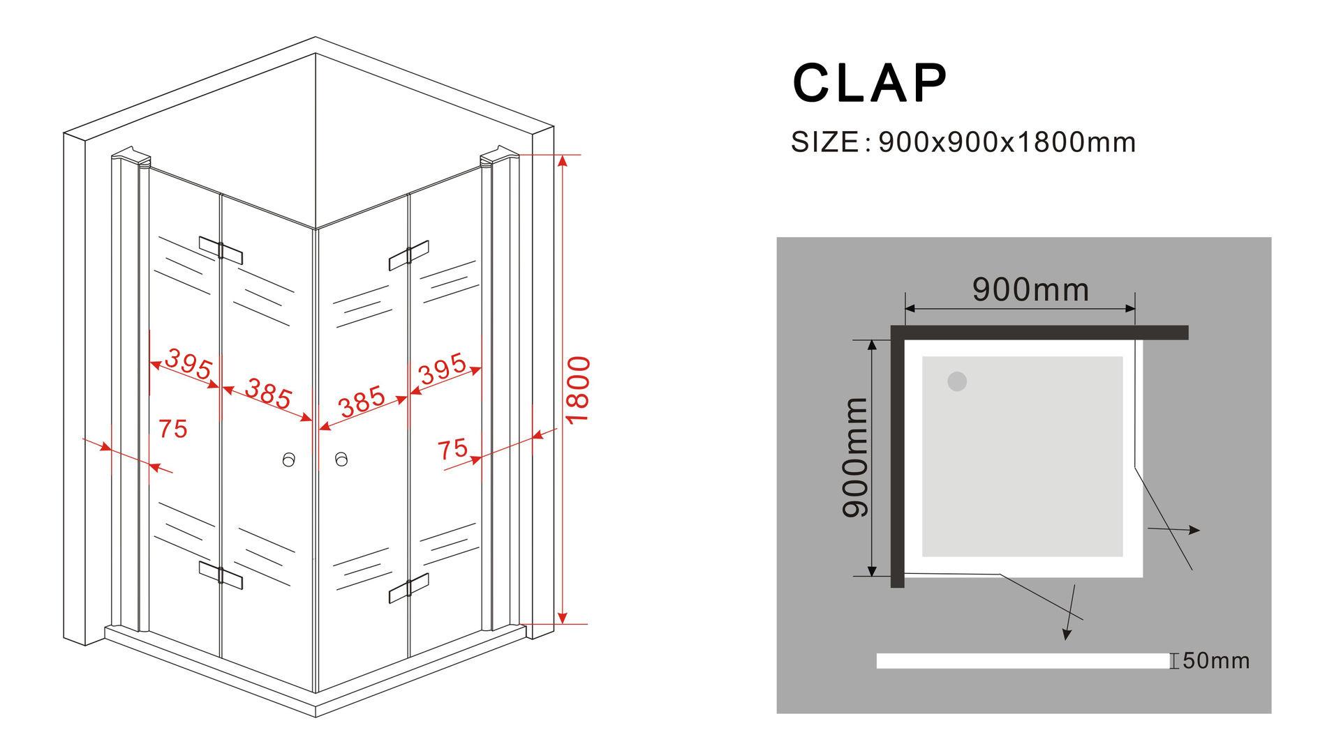 duschkabine clap 90 x 90 x 180 cm ohne duschtasse glasdeals. Black Bedroom Furniture Sets. Home Design Ideas