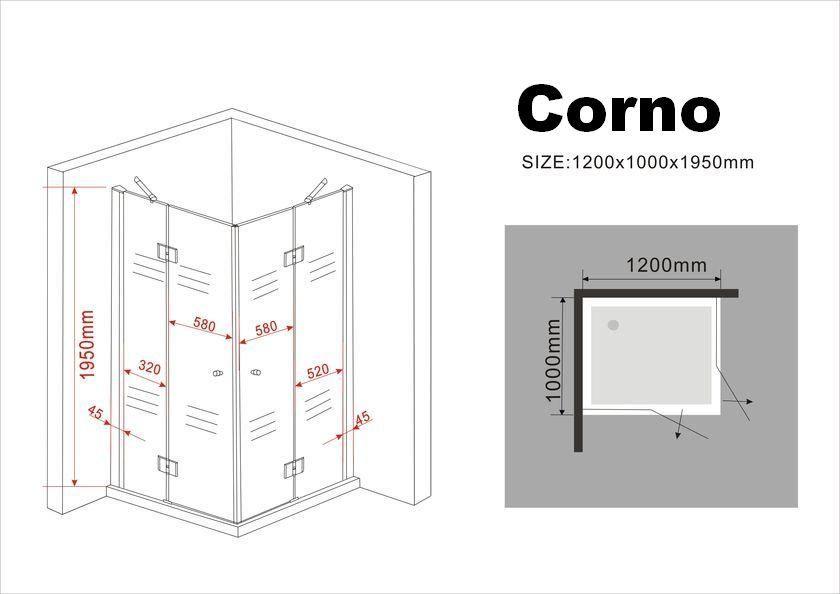 duschkabine corno 120 x 100 x 195 cm ohne duschtasse. Black Bedroom Furniture Sets. Home Design Ideas