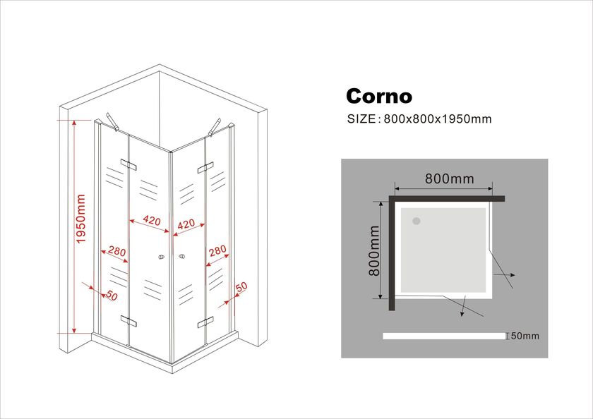 duschkabine corno 80 x 80 x 195 cm ohne duschtasse. Black Bedroom Furniture Sets. Home Design Ideas