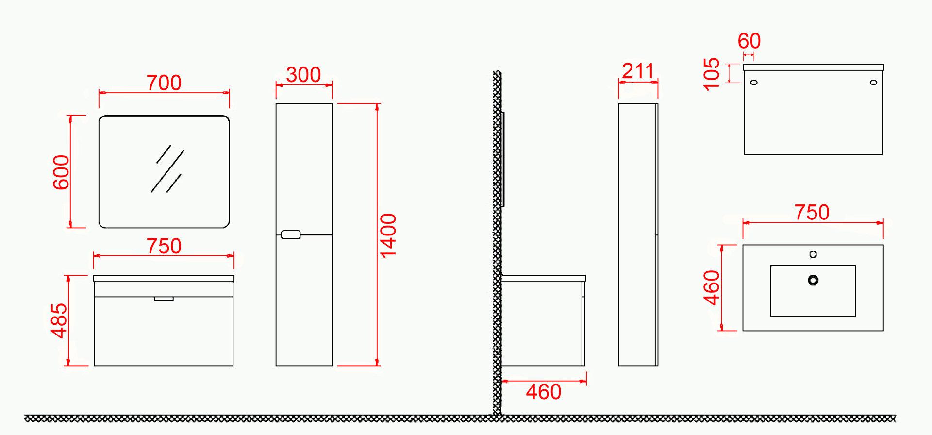 badm bel set glosso 75 hochglanz grau duschdeals. Black Bedroom Furniture Sets. Home Design Ideas