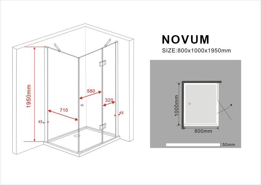 duschkabine novum 100 x 80 x 195 cm ohne duschtasse glasdeals. Black Bedroom Furniture Sets. Home Design Ideas