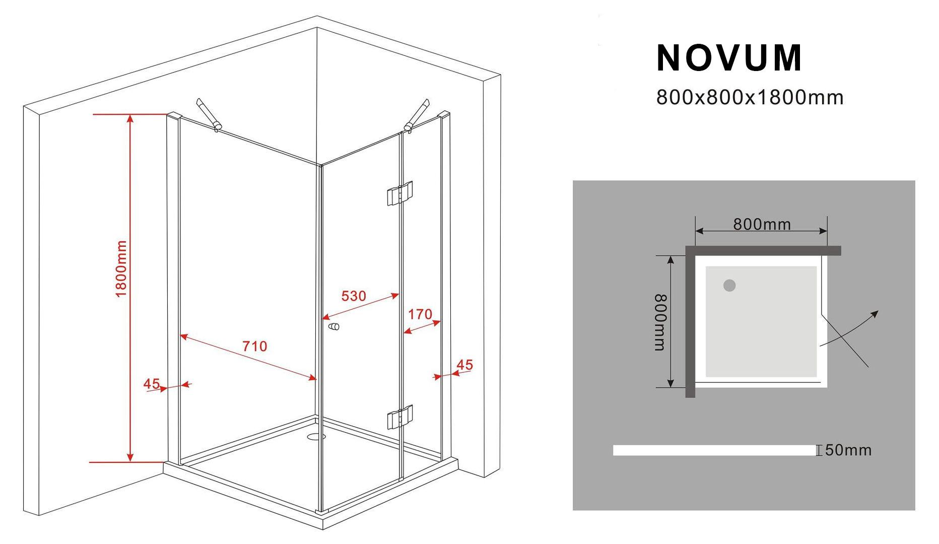 duschkabine novum 80 x 80 x 180 cm ohne duschtasse. Black Bedroom Furniture Sets. Home Design Ideas