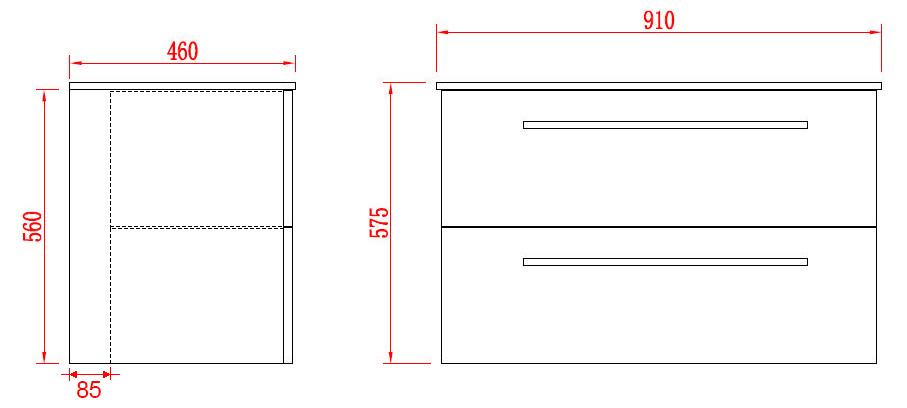 Badmöbel Unterschrank OPORTO 90 (weiß) - Duschdeals