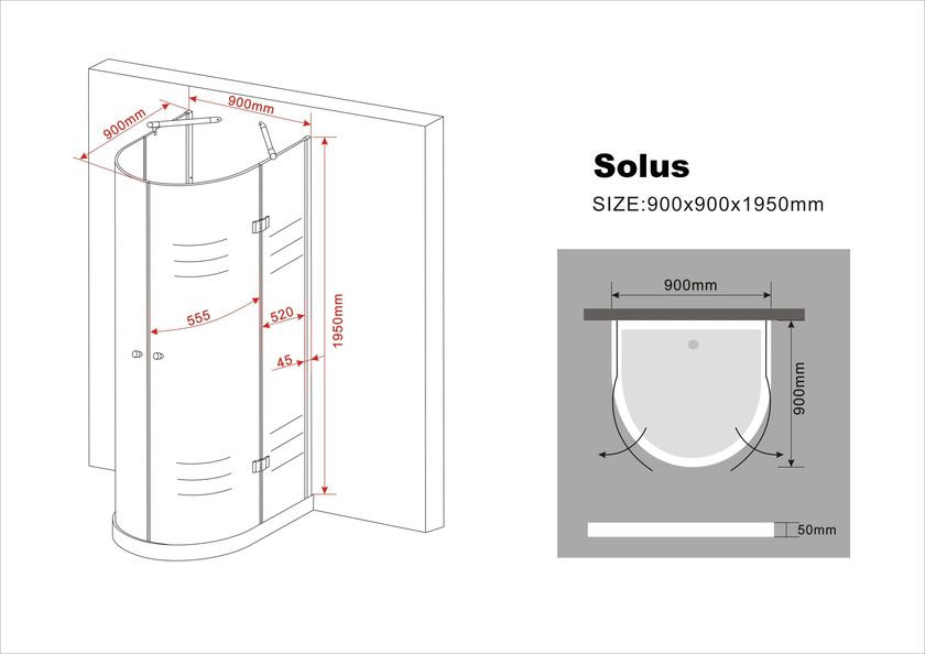 u duschkabine solus 90 x 90 x 195 cm ohne duschtasse. Black Bedroom Furniture Sets. Home Design Ideas
