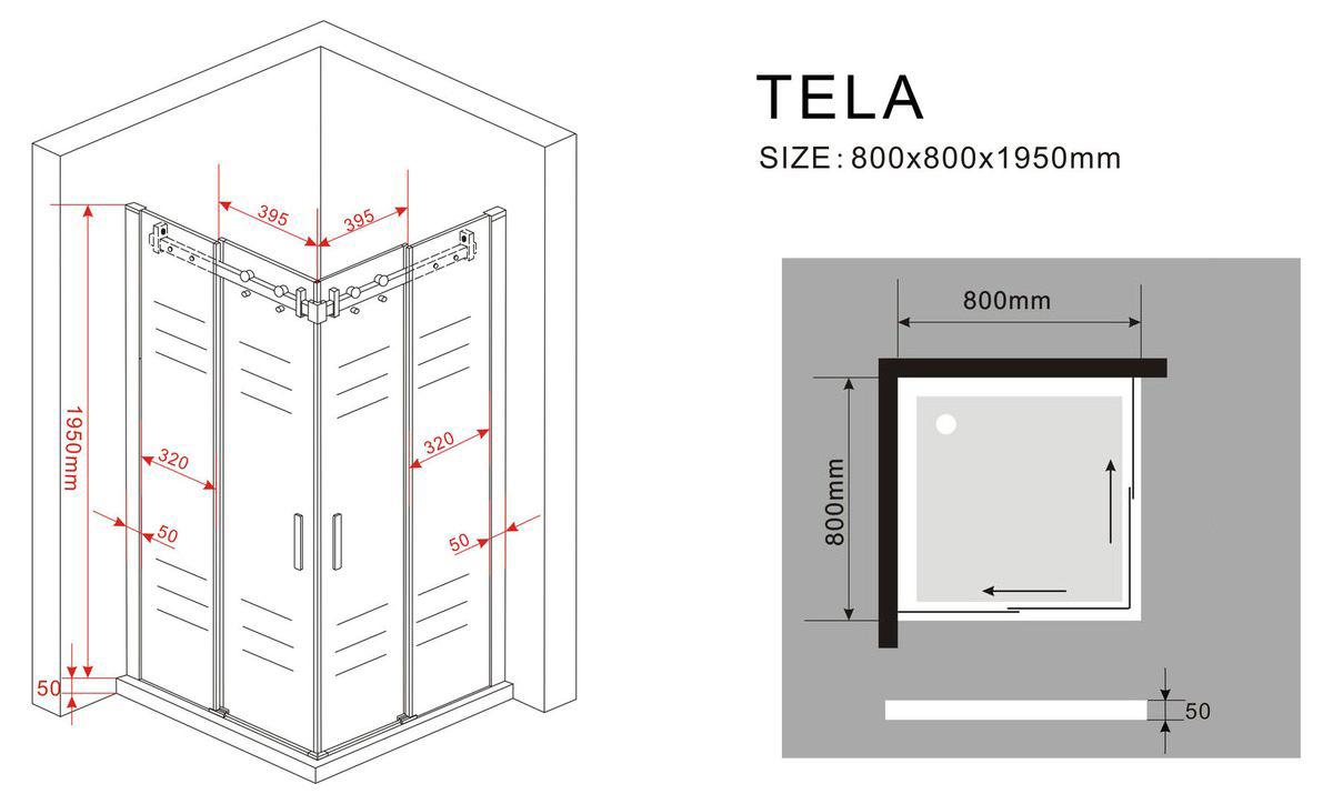 duschkabine tela 80 x 80 x 195 cm ohne duschtasse duschdeals. Black Bedroom Furniture Sets. Home Design Ideas