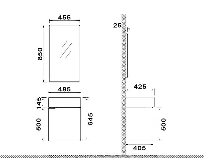 Badmöbel-Set VENETO 47 (beige) - Duschdeals